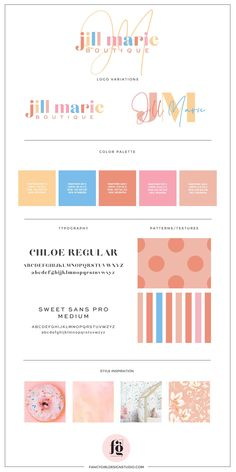 brand guide for Jill Marie Boutique | designed by Fancy Girl Design Studio Corporate Design, Brand Identity Design, Graphic Design Branding, Packaging Design, Brand Design, Kids Store, Brand Guide, Design Graphique, Brand Board
