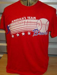 vintage 1980s Atlanta Braves baseball t shirt retro America team 80s by vintagerhino247 on Etsy