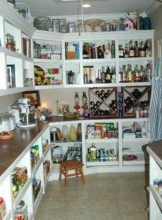 Love this pantry! ...especially how there is a wired counter for appliances - very smart!