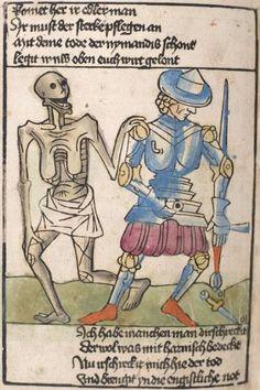 Heidelberger Bilderkatechismus' (Handschrift) ; Biblia pauperum (Blockbuch) ; Totentanz (Blockbuch) u.a. Ostmitteldeutschland, um 1455/1458 Cod. Pal. germ. 438  Folio 136v