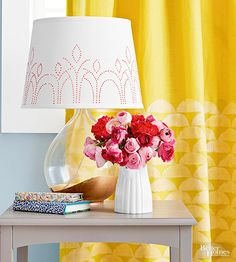 Add a design to a colored curtain panel by subtracting hues.