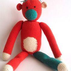 Anama_knuffel_aap_oranje_groen Crochet Animals, Tweety, Great Gifts, Cute, Fictional Characters, Design, Crocheted Animals, Kawaii