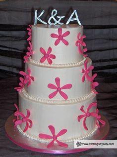 K&A Pink Flower Wedding Cake
