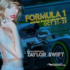 Just announced! Taylor will play a special concert for Circuit of The Americas Formula 1 race fans on October 22, 2016 in Austin, TX! Get tickets and more information at: http://smarturl.it/TSF1