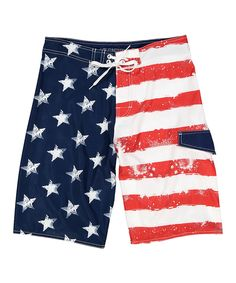 Take a look at this Banana Split Red & Blue USA Flag 4-Way Boardshorts today!