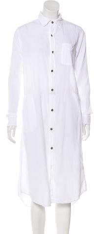 Ivory Current/Elliot shirtdress with pointed collar, patch pocket at bust, contrast stitching and button closures at center front. Anniversary Outfit, Shirtdress, Chef Jackets, Tunic Tops, Long Sleeve, Outfits, Clothes, Dresses, Women