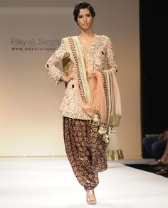 Blush Zardozi and Crystal Suit with Purple Brocade Patiala by Best of Payal Singh - Exclusively In