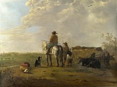 A Landscape With Horseman Herders And Cattle  Aelbert Cuyp
