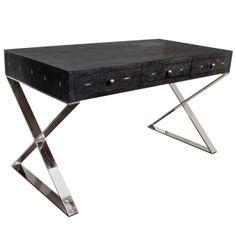 Black Shagreen X-Base Desk