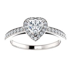 10kt White Gold 5x5mm Center Heart Imitation Diamond or 16 Halo Diamonds and 20 Accent Round Diamonds Engagement Ring...(ST122088:198:P).! Price: $469.99