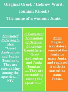 The apostle Junia, WOMEN AND SCRIPTURE: When Hebrew and Greek become English