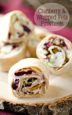 Cranberry & Whipped Feta Pinwheels - Krafted Koch - A perfectly simply and delicious appetizer recipe!