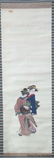 3rd of 5 Antique Signed Chinese Japanese Geisha Ink Drawing Scroll Painting