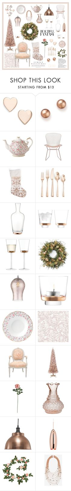 """""""Rose Gold Christmas"""" by magnolialily-prints ❤ liked on Polyvore featuring interior, interiors, interior design, home, home decor, interior decorating, Poppy Finch, Bloomingdale's, Royal Albert and Zuo"""