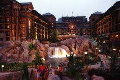Disney Resort Hotels, Disney's Wilderness Lodge - Exterior At Night, Walt Disney World Resort