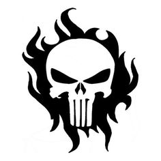 10.6cm*13.1cm Fire Flames Punisher Cartoon Stickers Motorcycle Decals