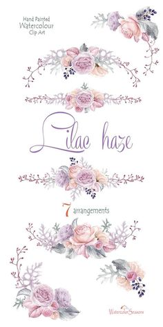 Watercolor Clipart Lilac Flowers Bouquets Arrangement Watercolour Wedding Invitation Greeting Card PNG Wall Art Scrapbooking diy clip art in 2019 Art Floral, Motif Floral, Floral Design, Watercolor Clipart, Watercolor Flowers, Painting Flowers, Watercolor Design, Watercolor Paintings, Watercolor Ideas