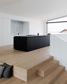 Kitchen design in black on wood