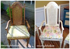 Super cheap thrift store find, 6 dining chairs for $35...amazing what a little paint and fabric and do! (cutting off those spindles didn't hurt either!)