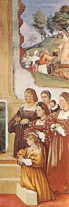 Lorenzo Lotto - Storie di Santa Brigida, dettaglio : le donne di Casa Suardi - 1524 - affresco - Cappella Suardi - Trescore Balneario (Bergamo, Italia)