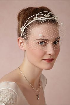 Maille Blusher from BHLDN-- brilliant combo of headband and birdcage veil
