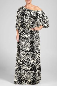 This bohemian-inspired floor-sweeping Aurora Dress is an oldie-but-goodie.  Features ¾ length dolman sleeves, blousy banded waistline, and wide neckline that can be worn slightly off-the-shoulder.