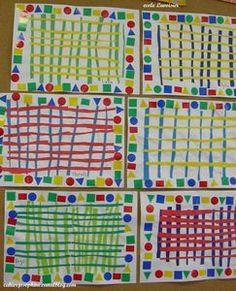 # Graphic design in kindergarten # around the grid. A site teeming with good ideas! Kindergarten Art, Preschool Art, Arte Elemental, Recycled Crafts Kids, Pre Writing, Art Lessons Elementary, Art Plastique, Teaching Art, Art Lesson Plans