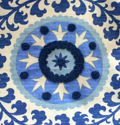 beautiful tribal azure linen pattern from La Tavola
