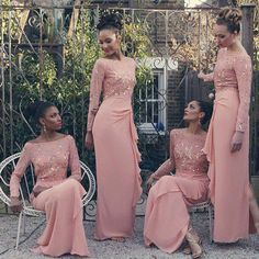 Boat Neck Long Sleeve Bridesmaid Dresses Sequined Appliques Cascading Ruffles Peach Formal Dresses Floor Length Chiffon Convertible Dresses Olive Green Bridesmaid Dresses Online Bridesmaid Dresses From Xzy1984316, $93.41| Dhgate.Com