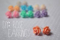 p.s.♡: diy : rose earrings (too cute! -- to make with E)