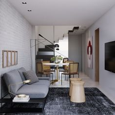 Sofá cinza: 85 ideias de como usar esse móvel versátil na decoração Living Room Sofa Design, Living Room Designs, Living Room Decor, Kitchen Cabinets Decor, Cabinet Decor, Sofa Gris, Sala Grande, Yellow Sofa, Cozy Sofa