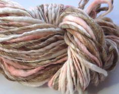 Handspun Yarn Peach Ripple- bulky merino bamboo, crochet knitting weaving supplies, baby prop yarn, waldorf doll hair 88yds
