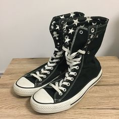 ba7be1de474 Converse All Star XHI Black Stars Chuck Taylor Sneakers Boots Black Mens US  9