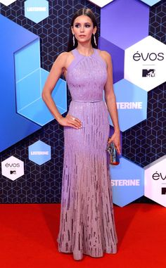 Pretty in purple! TheVampire Diaries starlet stuns in a beaded gown at the MTV European Music Awards.