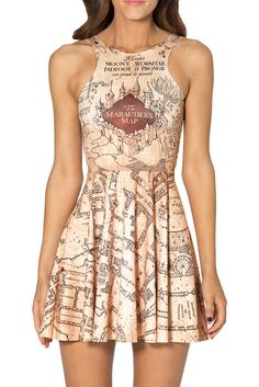 "This cute flared Skater style dress has the marauders map all over!  It is reversible, so there is no front or back.  ""One size fits most"" but in reality its a lot like a US Medium.  It would stretch to fit up to an Extra Large, but it gets shorter and you would need leggings.   Become a Fan ..."