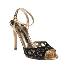 A beautiful rose mirror metallic leather sandal show casing an exclusive arrangement of Swarovski 'Crystal Rocks' diamante on an elegant 100mm stiletto heel with ankle strap detail.