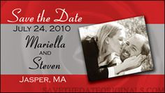 Small wedding save the date magnet with just enough room for a photo.  Rose background.