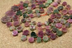 Watermelon Tourmaline Beads - Pink and Green Thick Slice Beads, 18 inch strand