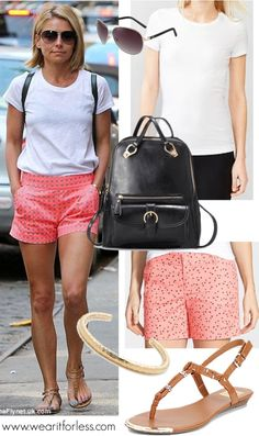 Kelly Ripa wearing printed shorts with a white t-shirt, t-strap sandals, and a black backpack - get the look for less! www.wearitforless.com