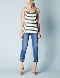 Classic wardrobe staple. Not tight, yet not a tent! I dig nautical stripes.