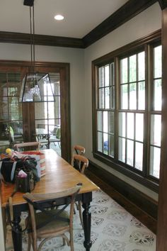 40 Ideas For Dark Wood Furniture Living Room Paint Colors Grey Walls Stained Wood Trim, Dark Wood Trim, Dark Wood Floors, Wood Walls, Wood Stain, Wood Paneling, Room Wall Colors, Paint Colors For Living Room, Living Room White
