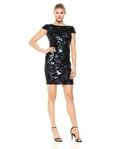 Polyester Imported Zipper closure Dry Clean Only Flattering fit Zipper closure Metallic Dress, Calvin Klein, Sequins, Dresses With Sleeves, Formal Dresses, Womens Fashion, Casual, Clothes, Closure