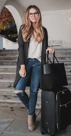 #winter #outfits /  Dark Cardigan // Cream Silk Blouse // Destroyed Skinny Jeans // Suede Booties