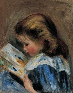 (France) The picture book by Pierre-Auguste Renoir Oil on canvas. Renoir was a French artist who was a leading painter in the development of the Impressionist style. Pierre Auguste Renoir, Edouard Manet, Claude Monet, August Renoir, Renoir Paintings, Reading Art, Children Reading, Girl Reading, Reading Books