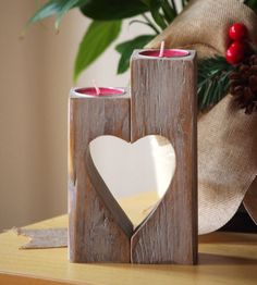 Wooden Candle holder, vintage Heart candle holder, grandmother gift, shabby…
