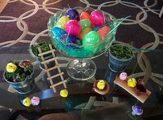 Spring & Easter Decor : Moss with plastic eggs, little miniature garden benches top it off with the always adorable chenille peeps! Garden Benches, Plastic Eggs, Easter Decor, Seasonal Decor, Peeps, Miniatures, Seasons, Spring, Top