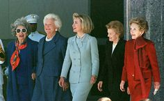 Former first ladies, from left to right:  Lady Bird Johnson, Barbara Bush, Hillary Clinton, Betty Ford, and Nancy Reagan, 1997.