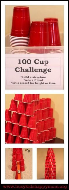 100 Cup Challenge - perfect, easy, and inexpensive for indoor fun! #Summer #Travel Staycation Ideas