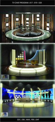 3ds max tv chat program studio set
