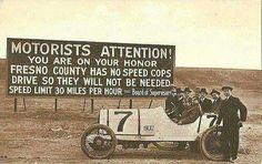Speed limit sign, 1920s.